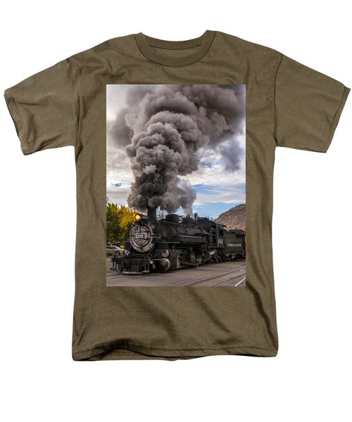 Men's T-Shirt  (Regular Fit) featuring the photograph Steam Locomotive by Jerry Cahill