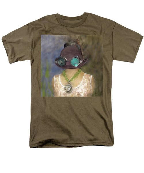 Steampunk Beauty With Hat And Goggles - Square Men's T-Shirt  (Regular Fit) by Betty Denise