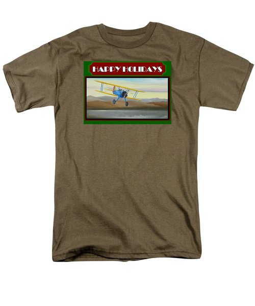 Stearman Morning Flight Christmas Card Men's T-Shirt  (Regular Fit) by Stuart Swartz