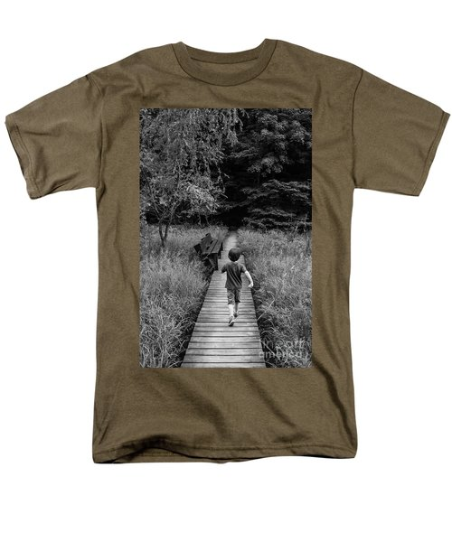 Men's T-Shirt  (Regular Fit) featuring the photograph Stepping Into Adventure - D009927-bw by Daniel Dempster