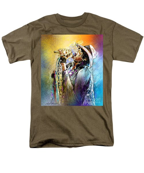 Steven Tyler 01  Aerosmith Men's T-Shirt  (Regular Fit) by Miki De Goodaboom