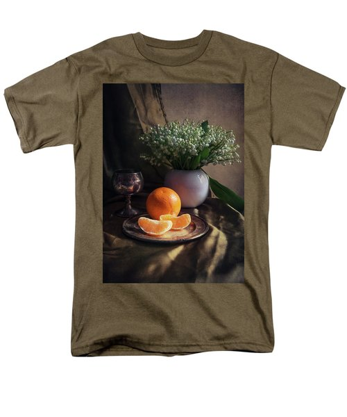 Men's T-Shirt  (Regular Fit) featuring the photograph Still Life With Fresh Flowers And Tangerines by Jaroslaw Blaminsky