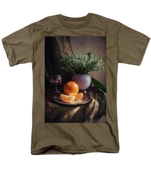 Still Life With Fresh Flowers And Tangerines Men's T-Shirt  (Regular Fit) by Jaroslaw Blaminsky