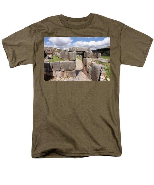 Stone Doorway At Sacsaywaman Men's T-Shirt  (Regular Fit) by Aidan Moran