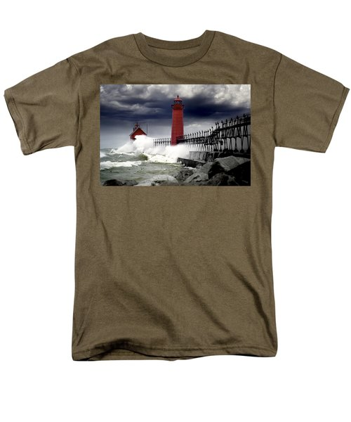Storm At The Grand Haven Lighthouse Men's T-Shirt  (Regular Fit) by Randall Nyhof
