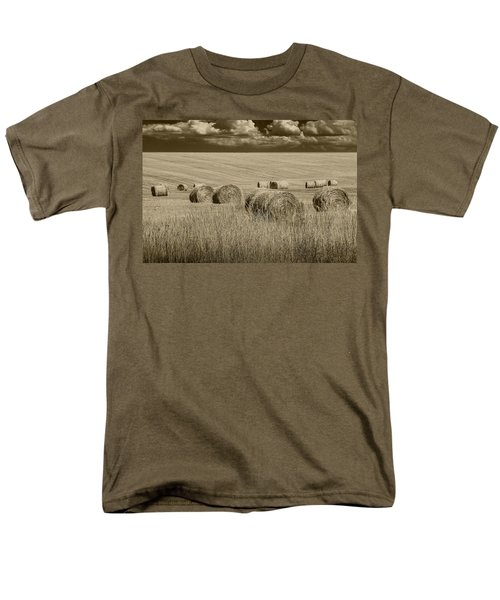 Summer Harvest Field With Hay Bales In Sepia Men's T-Shirt  (Regular Fit) by Randall Nyhof