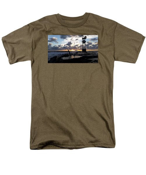Men's T-Shirt  (Regular Fit) featuring the photograph Sunrise Splash On The Jetty by Robert Banach