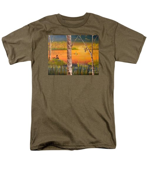 Men's T-Shirt  (Regular Fit) featuring the painting Sunset Fishing by Denise Tomasura
