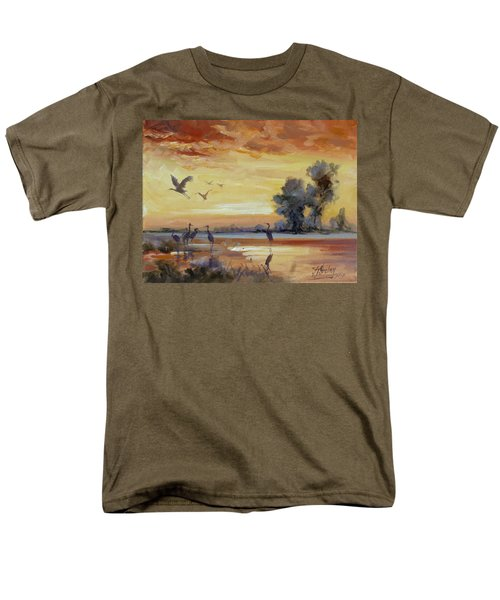 Sunset On The Marshes With Cranes Men's T-Shirt  (Regular Fit) by Irek Szelag