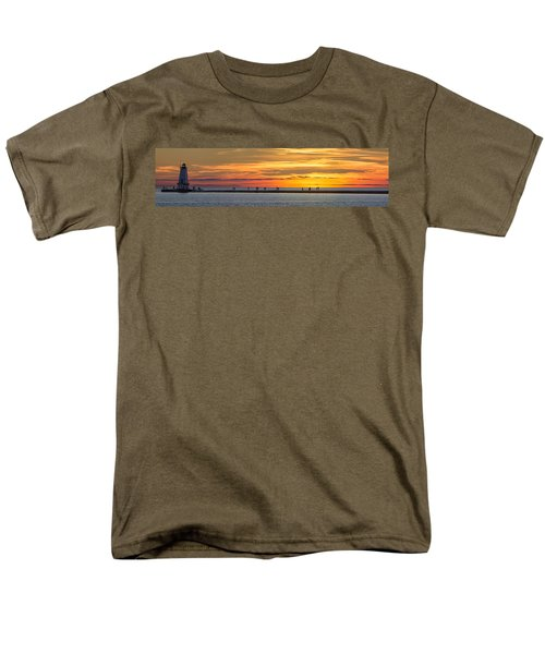 Men's T-Shirt  (Regular Fit) featuring the photograph Sunset Over Ludington Panoramic by Adam Romanowicz