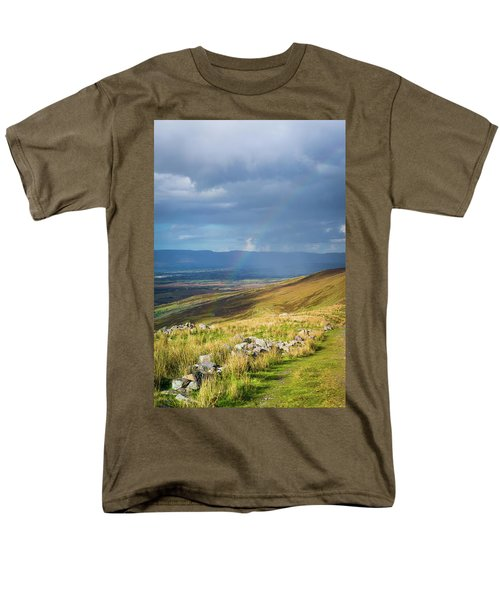 Men's T-Shirt  (Regular Fit) featuring the photograph Sunshine And Raining Down With Rainbow On The Countryside In Ire by Semmick Photo