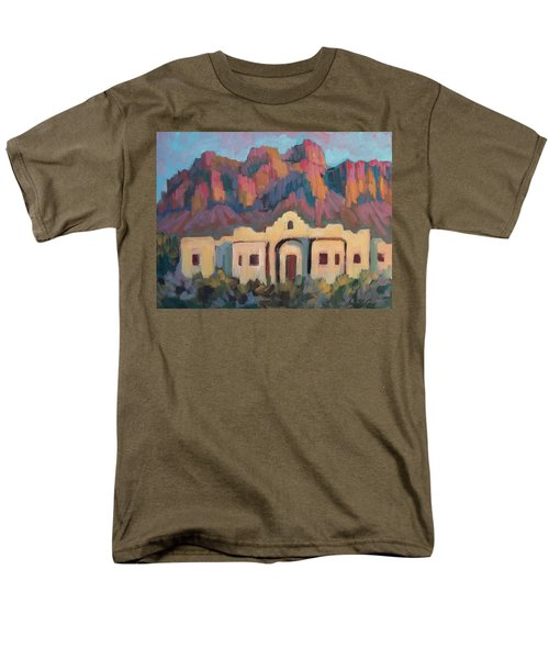 Men's T-Shirt  (Regular Fit) featuring the painting Superstition Mountain Evening by Diane McClary