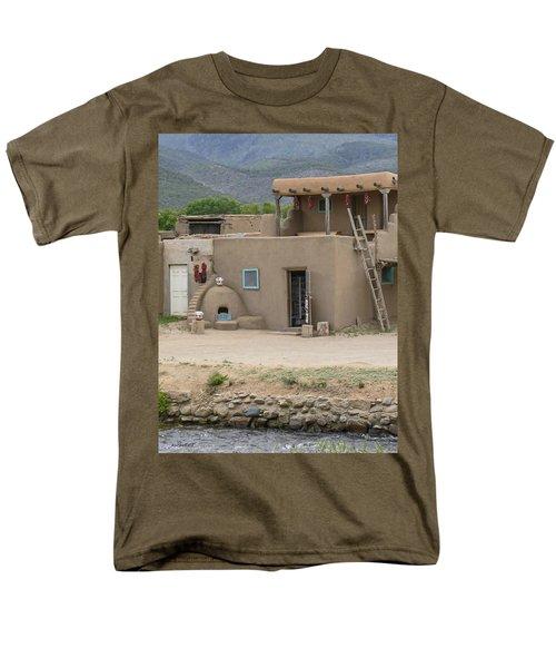 Taos Pueblo Adobe House With Pots Men's T-Shirt  (Regular Fit) by Allen Sheffield