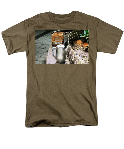 Men's T-Shirt  (Regular Fit) featuring the photograph Teapot And Birdcage by Ethna Gillespie