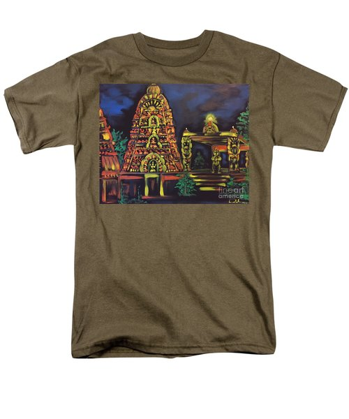 Men's T-Shirt  (Regular Fit) featuring the painting Temple Lights In The Night by Brindha Naveen