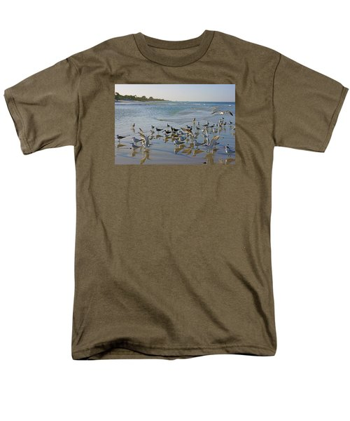 Terns And Seagulls On The Beach In Naples, Fl Men's T-Shirt  (Regular Fit) by Robb Stan