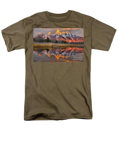 Teton Mountains Sunrise Rainbow Men's T-Shirt  (Regular Fit) by Adam Jewell