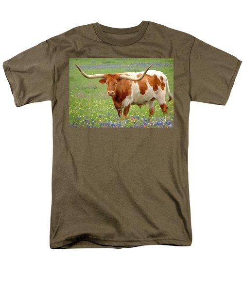 Texas Longhorn Standing In Bluebonnets Men's T-Shirt  (Regular Fit) by Jon Holiday