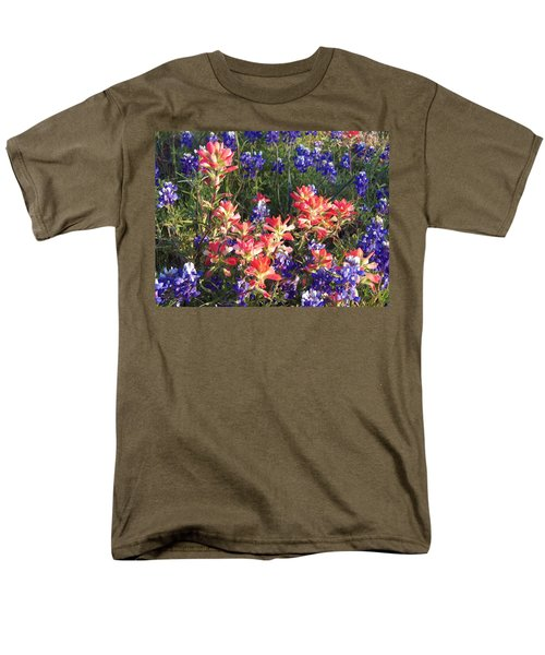 Men's T-Shirt  (Regular Fit) featuring the painting Texas Wildflowers by Karen Kennedy Chatham