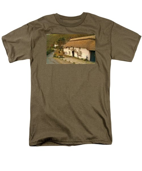 Thatched Cottage By Ford  Men's T-Shirt  (Regular Fit) by Richard Brookes