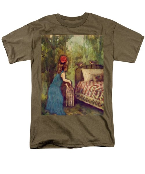 Men's T-Shirt  (Regular Fit) featuring the digital art The Bird Catcher by Lisa Noneman