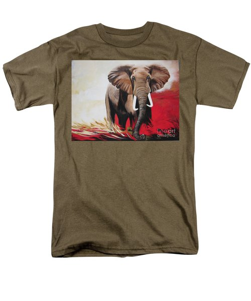 Men's T-Shirt  (Regular Fit) featuring the painting The Bull Elephant - Constitution by Sigrid Tune