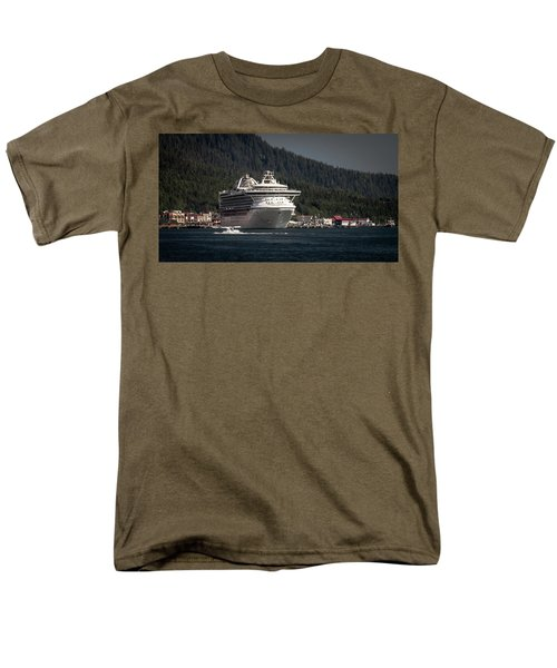 Men's T-Shirt  (Regular Fit) featuring the photograph The Cruise Ship And The Plane by Timothy Latta