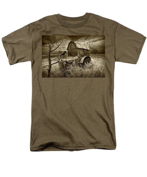 Men's T-Shirt  (Regular Fit) featuring the photograph The Decline And Death Of The Small Farm In Sepia Tone by Randall Nyhof