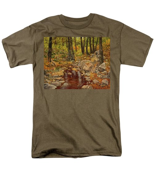 Men's T-Shirt  (Regular Fit) featuring the painting The Fall Stream by Roena King