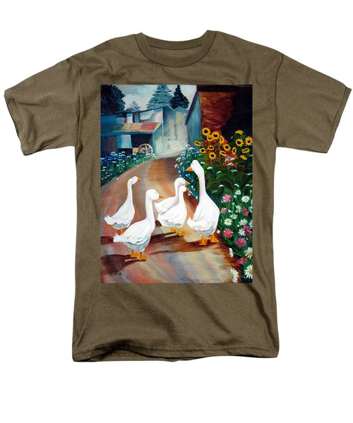 Men's T-Shirt  (Regular Fit) featuring the painting The Gaggle by Renate Nadi Wesley