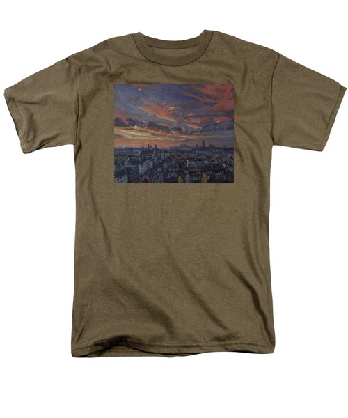Men's T-Shirt  (Regular Fit) featuring the painting The Golden Hour Maastricht by Nop Briex