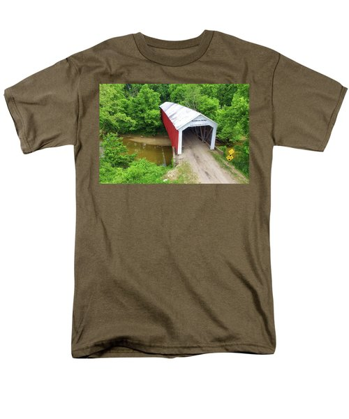 The Mcallister Covered Bridge - Ariel View Men's T-Shirt  (Regular Fit) by Harold Rau