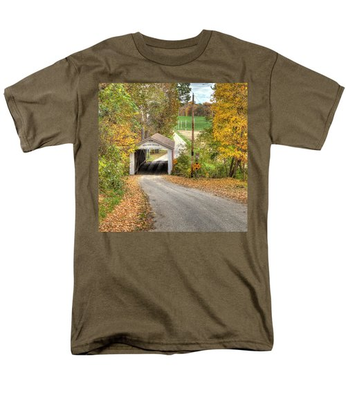 Men's T-Shirt  (Regular Fit) featuring the photograph The Melcher Covered Bridge by Harold Rau