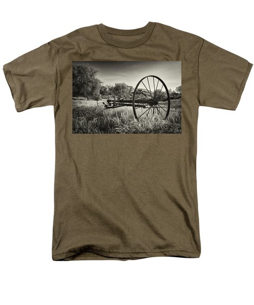 The Old Mower 2 In Black And White Men's T-Shirt  (Regular Fit) by Endre Balogh