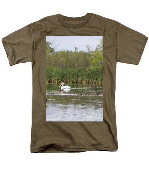 Men's T-Shirt  (Regular Fit) featuring the photograph The Pelican And The Ducklings by Alyce Taylor