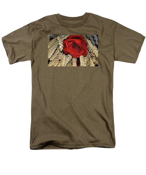 Men's T-Shirt  (Regular Fit) featuring the photograph The Red Rose On A Bed Of Wheat by Diana Mary Sharpton