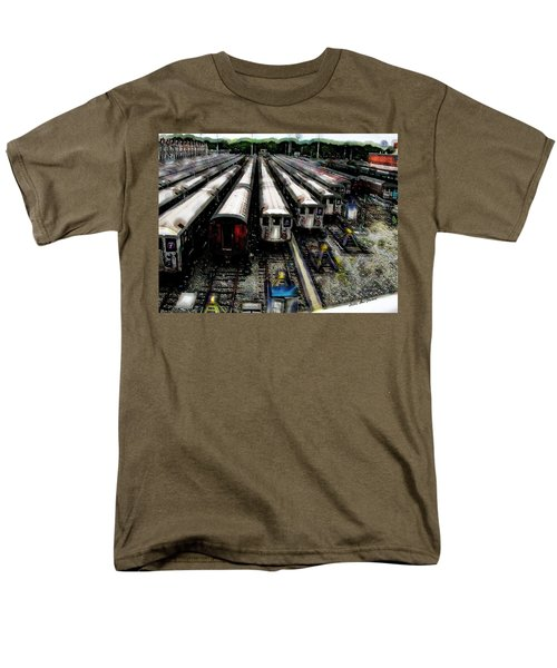 Men's T-Shirt  (Regular Fit) featuring the photograph The Seven Train Yard Queens Ny by Iowan Stone-Flowers