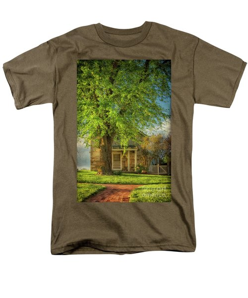 Men's T-Shirt  (Regular Fit) featuring the photograph The Stone Cottage On A Spring Evening by Lois Bryan