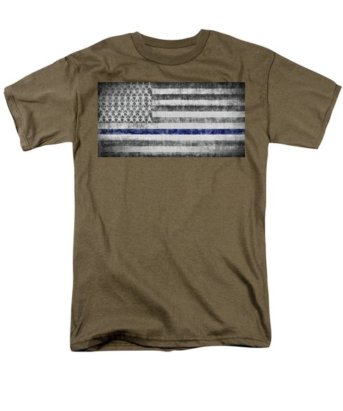Men's T-Shirt  (Regular Fit) featuring the digital art The Thin Blue Line American Flag by JC Findley