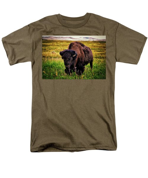 Men's T-Shirt  (Regular Fit) featuring the photograph Theodore Roosevelt National Park 009 - Buffalo by George Bostian