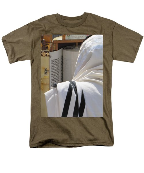Men's T-Shirt  (Regular Fit) featuring the photograph Thora Reading At The Western Wall by Yoel Koskas