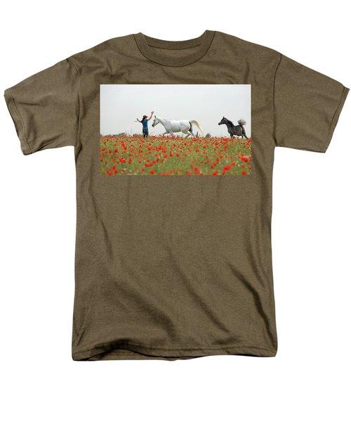 Three At The Poppies' Field Men's T-Shirt  (Regular Fit) by Dubi Roman