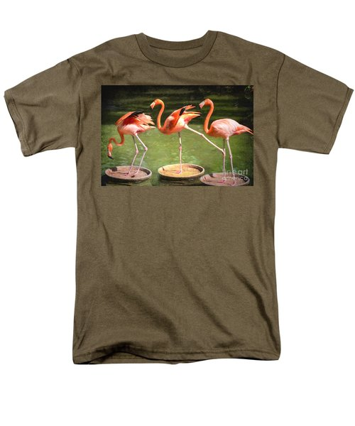 Men's T-Shirt  (Regular Fit) featuring the photograph Three Flamingos by Judy Wolinsky