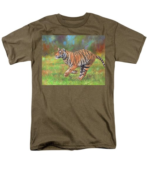 Men's T-Shirt  (Regular Fit) featuring the painting Tiger Running by David Stribbling