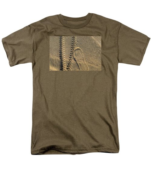 Men's T-Shirt  (Regular Fit) featuring the photograph Tire And Sneaker Tracks by Lyle Crump