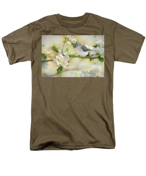Men's T-Shirt  (Regular Fit) featuring the mixed media Titmouse In Blossoms 2 by Lori Deiter
