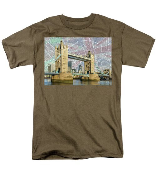 Men's T-Shirt  (Regular Fit) featuring the digital art Tower Bridge With Union Jack by Adam Spencer