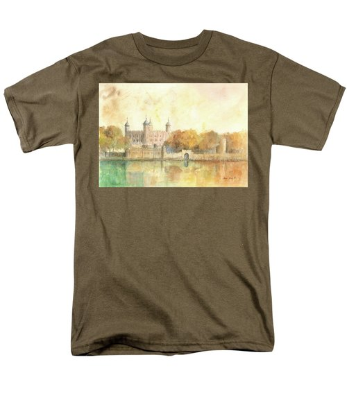 Tower Of London Watercolor Men's T-Shirt  (Regular Fit) by Juan Bosco