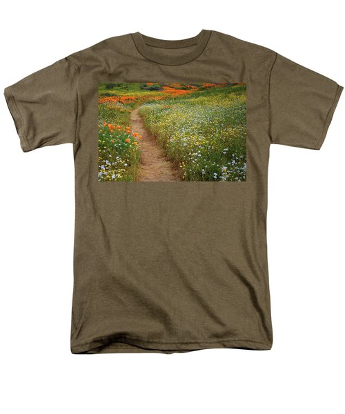 Men's T-Shirt  (Regular Fit) featuring the photograph Trail Of Wildflowers At Diamond Lake In California by Jetson Nguyen