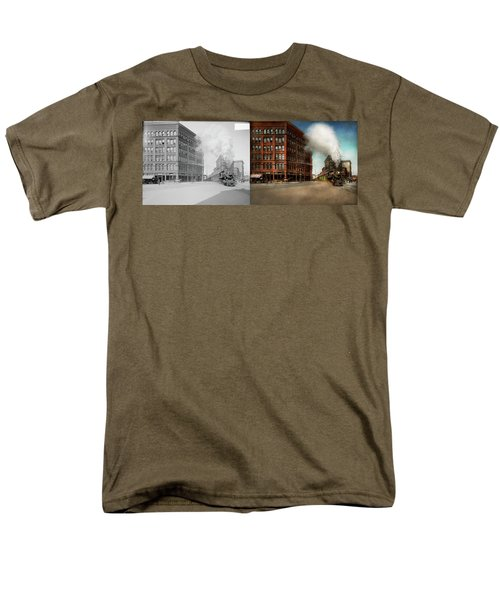 Men's T-Shirt  (Regular Fit) featuring the photograph Train - Respect The Train 1905 - Side By Side by Mike Savad